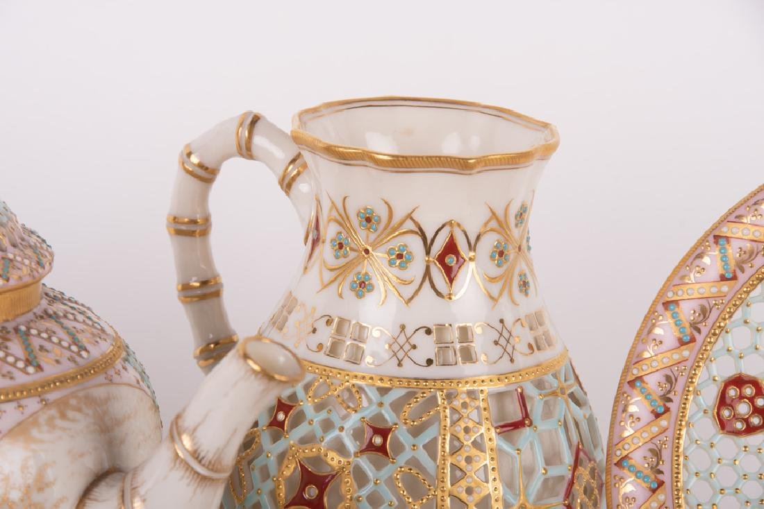 ROYAL WORCESTER DOUBLE-WALL CHINOISERIE TEA SERVICE - 6
