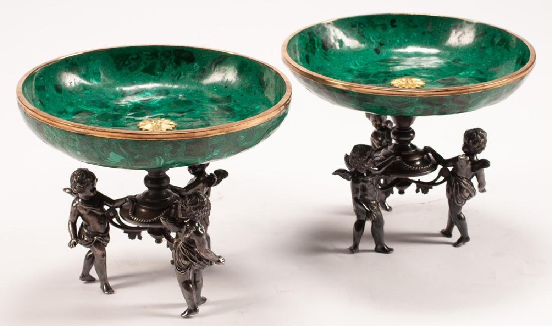 PAIR OF MALACHITE FIGURAL COMPOTES