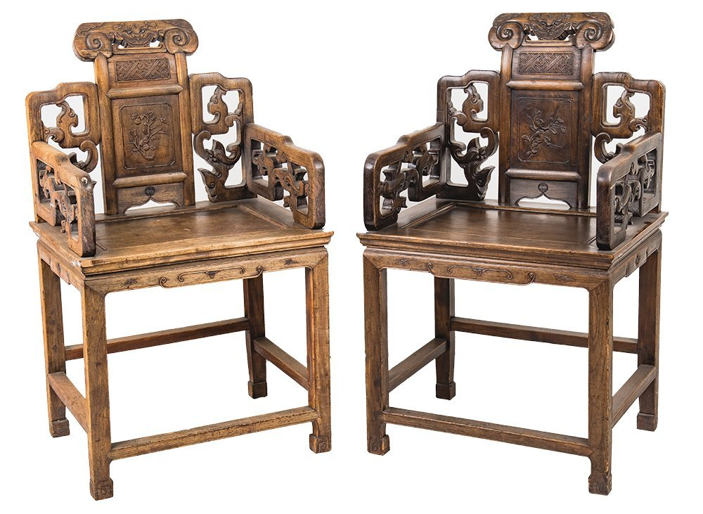 FOUR CHINESE CARVED HARDWOOD CHAIRS