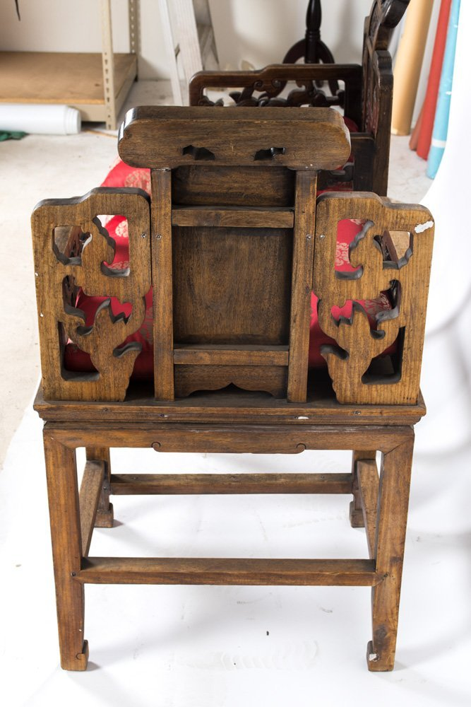 FOUR CHINESE CARVED HARDWOOD CHAIRS - 2