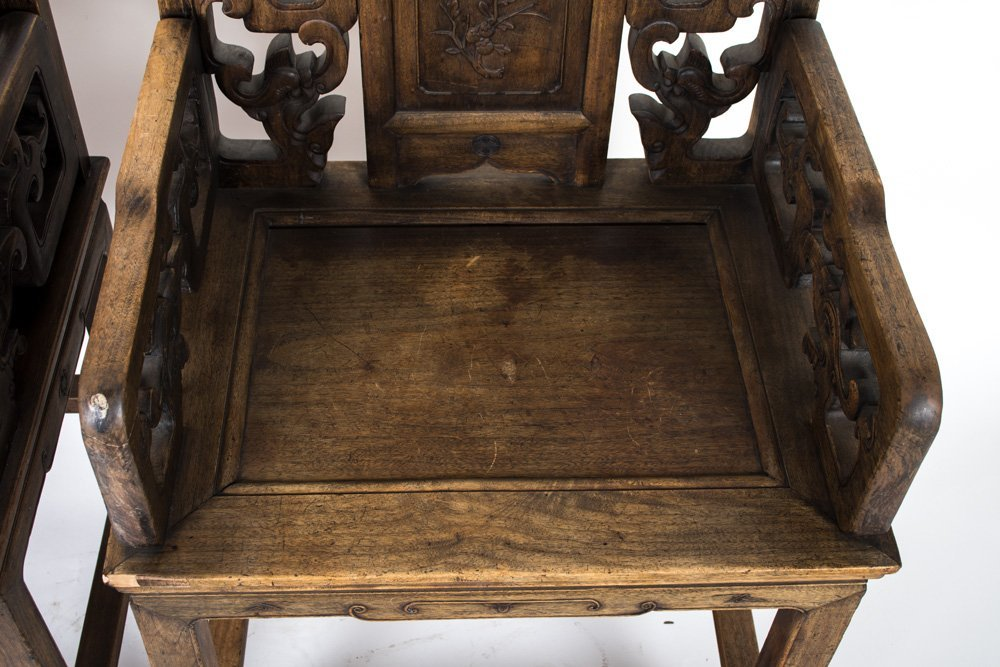 FOUR CHINESE CARVED HARDWOOD CHAIRS - 3