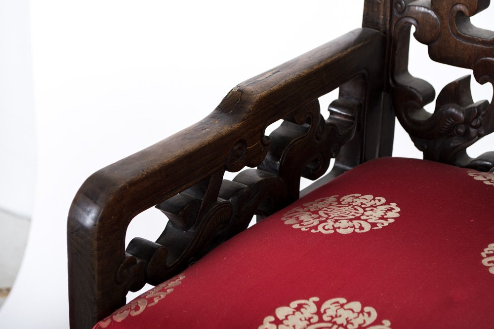 FOUR CHINESE CARVED HARDWOOD CHAIRS - 8