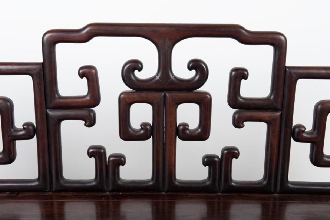 CHINESE CARVED HARDWOOD BENCH - 10