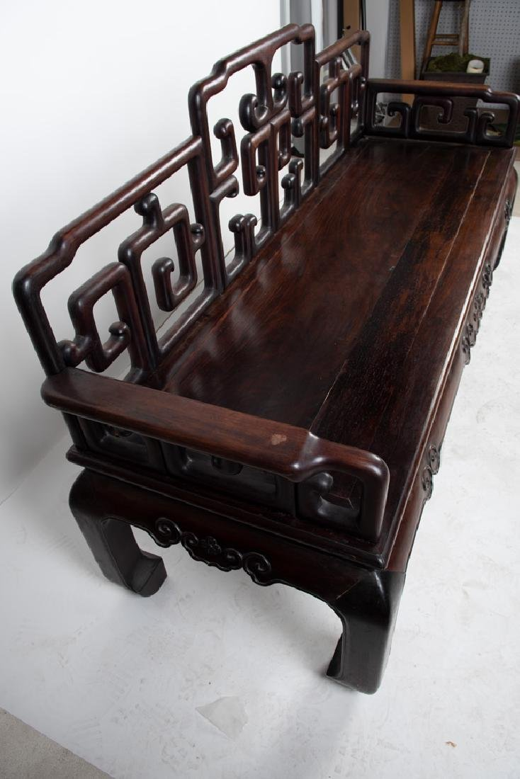 CHINESE CARVED HARDWOOD BENCH - 2