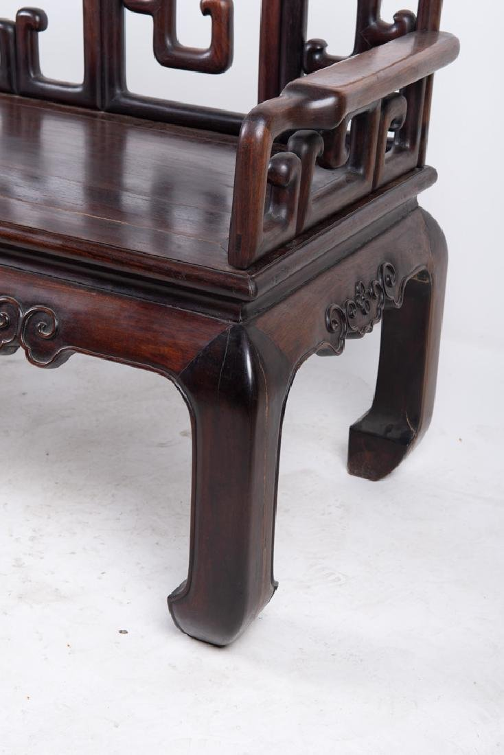 CHINESE CARVED HARDWOOD BENCH - 5