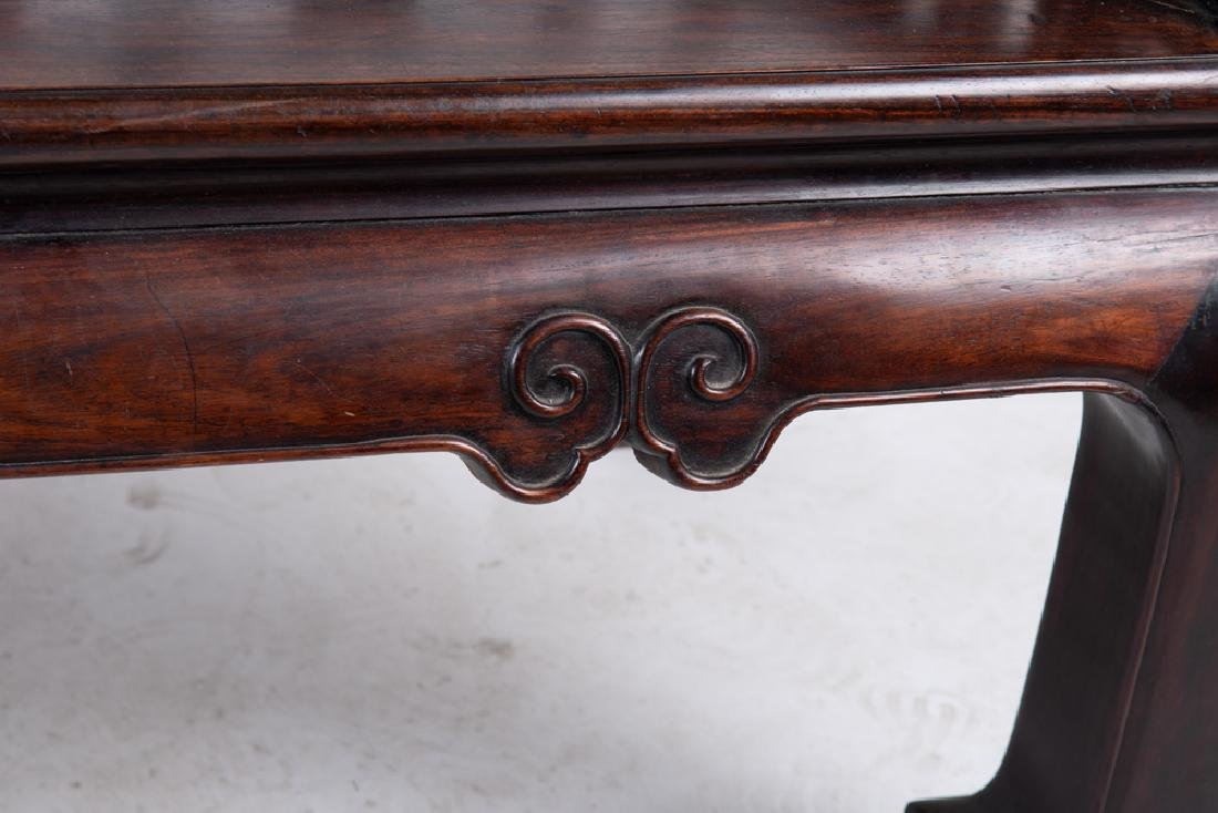 CHINESE CARVED HARDWOOD BENCH - 7