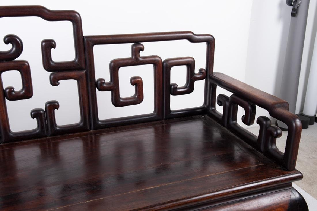 CHINESE CARVED HARDWOOD BENCH - 8