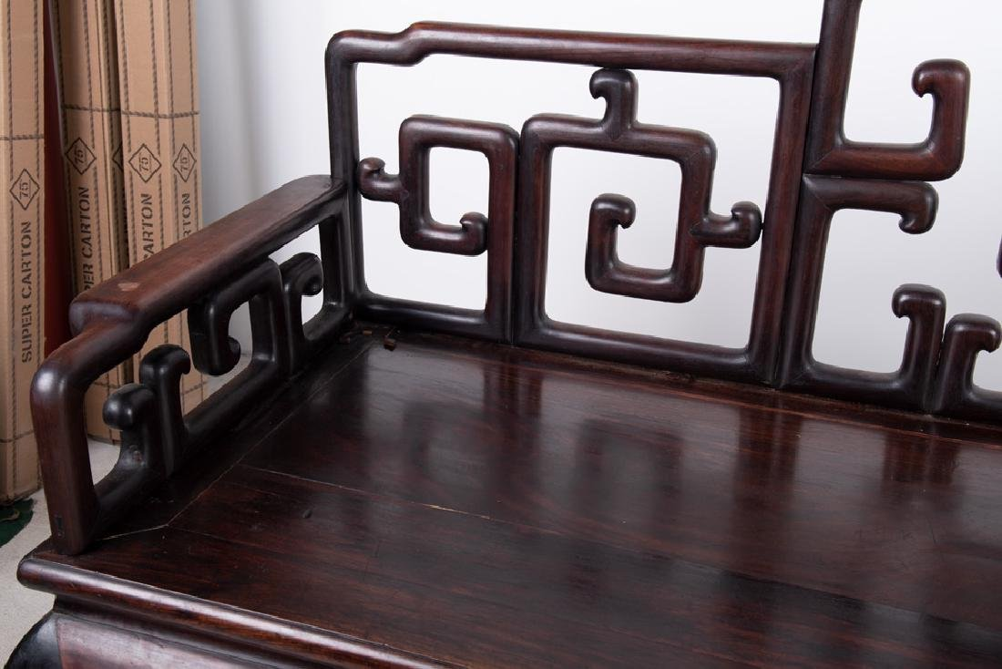 CHINESE CARVED HARDWOOD BENCH - 9