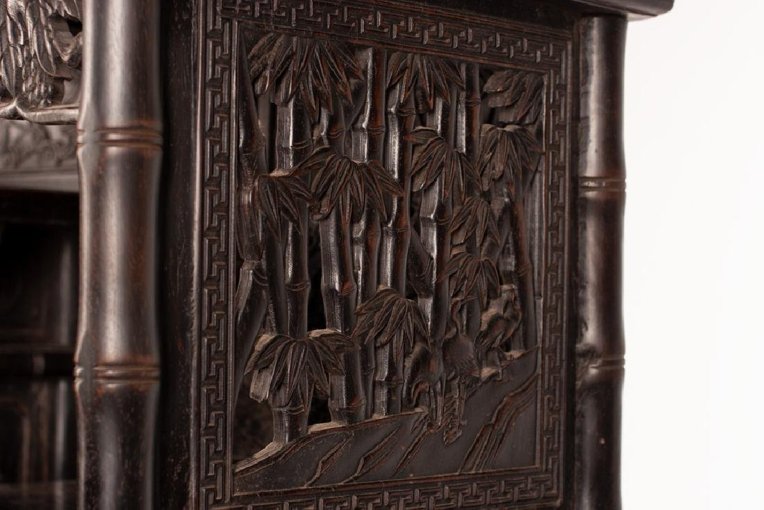 PAIR OF CHINESE CARVED HARDWOOD CABINETS - 10