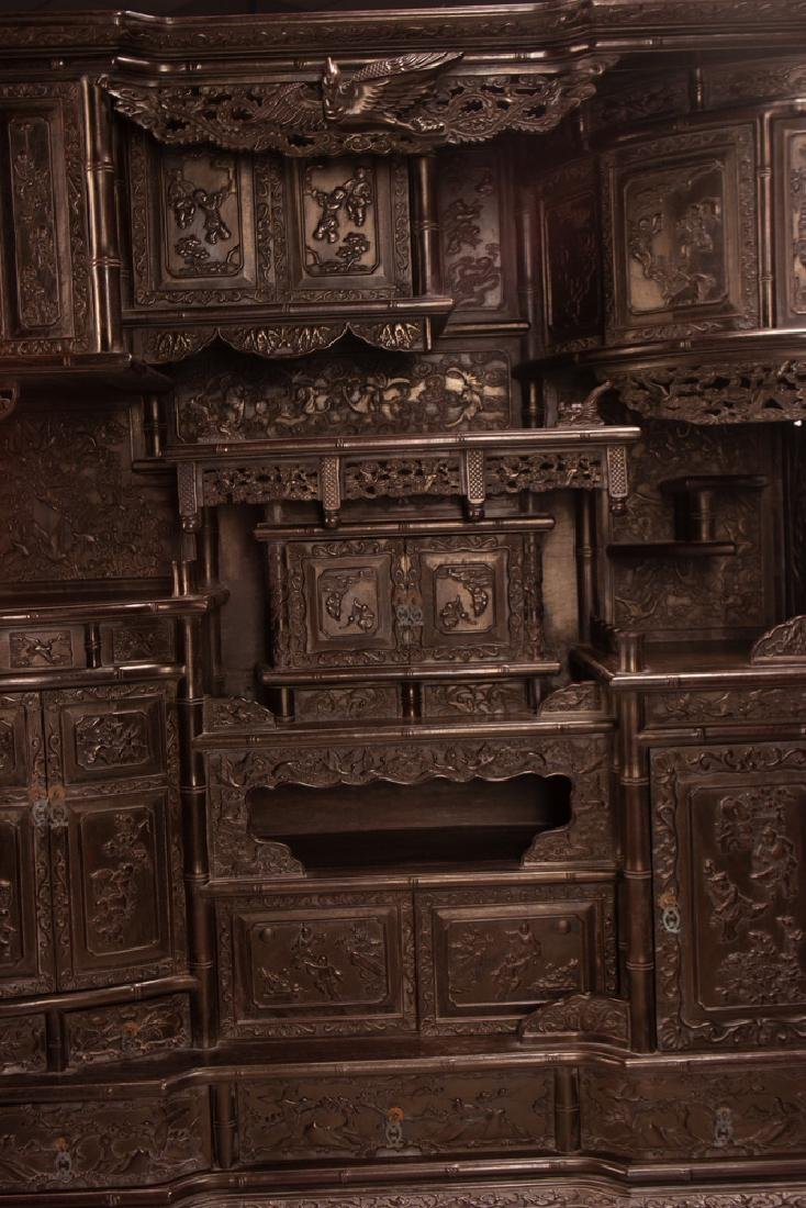 PAIR OF CHINESE CARVED HARDWOOD CABINETS - 4