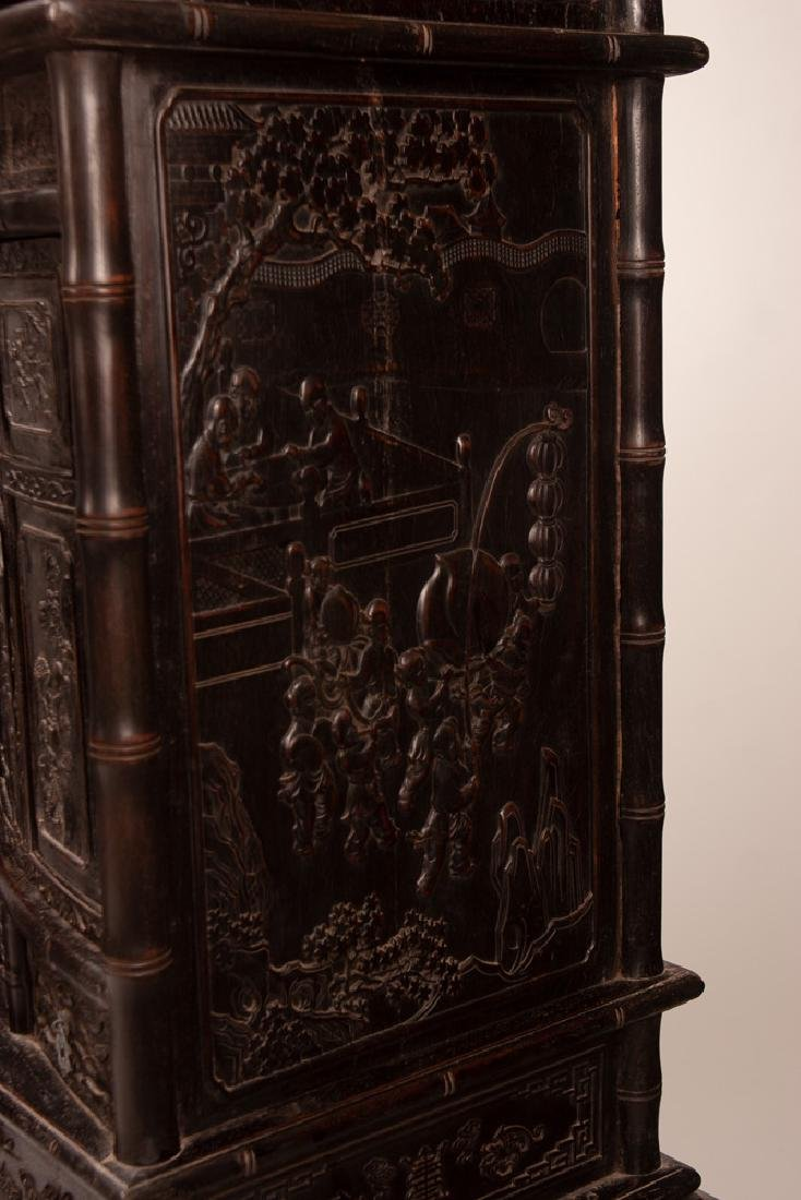 PAIR OF CHINESE CARVED HARDWOOD CABINETS - 5