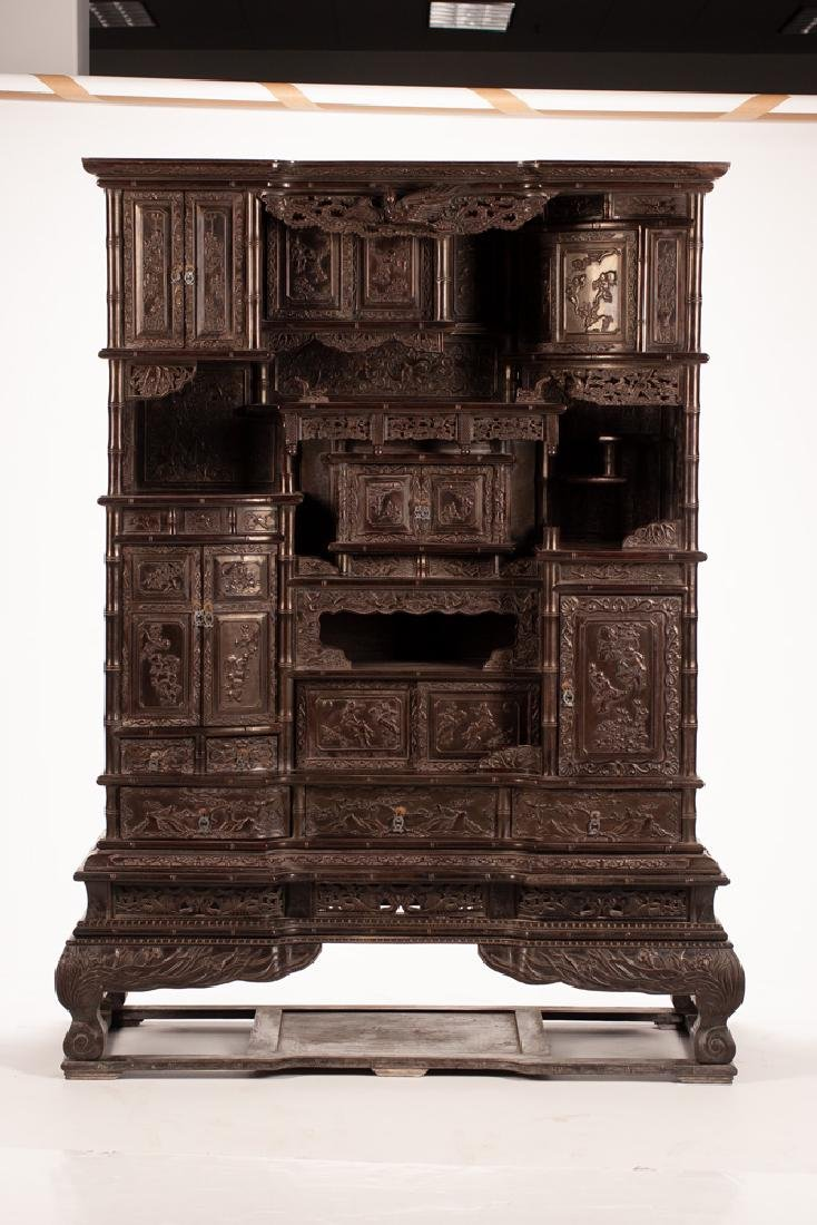 PAIR OF CHINESE CARVED HARDWOOD CABINETS - 6