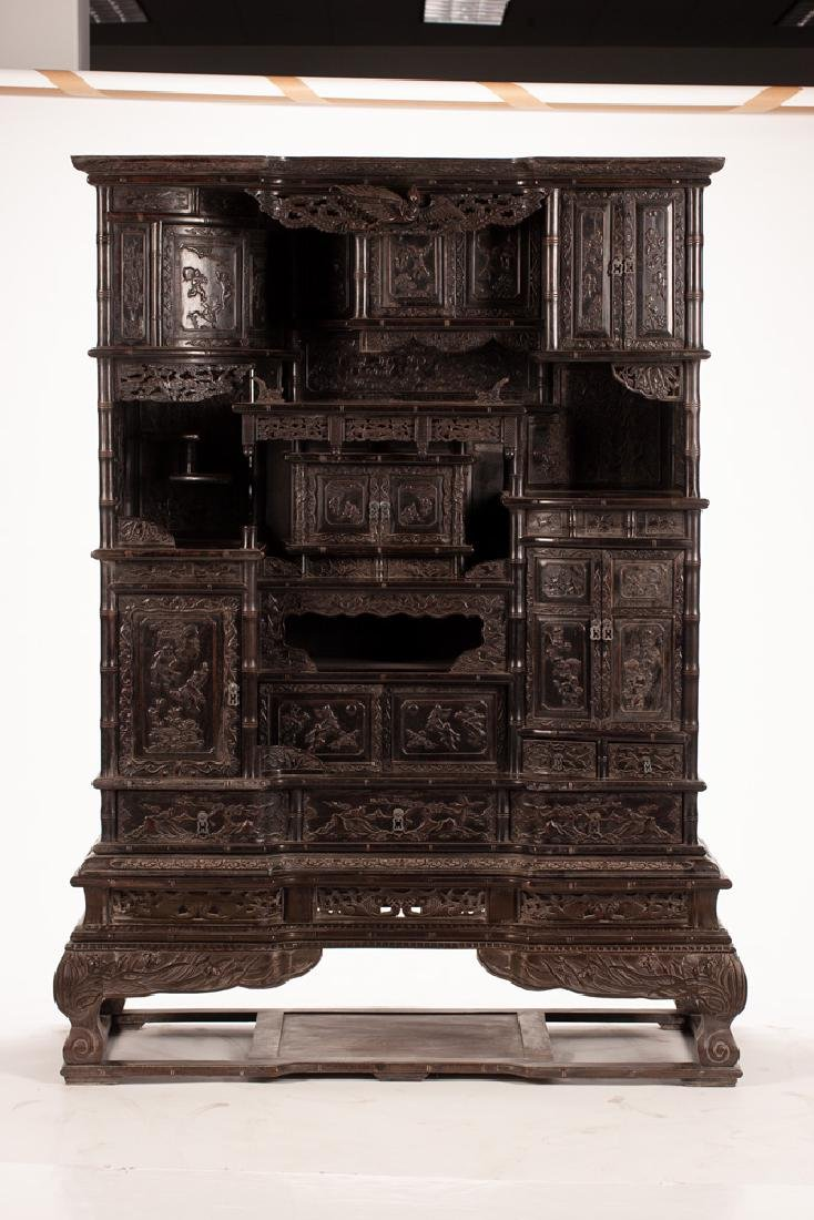 PAIR OF CHINESE CARVED HARDWOOD CABINETS - 7
