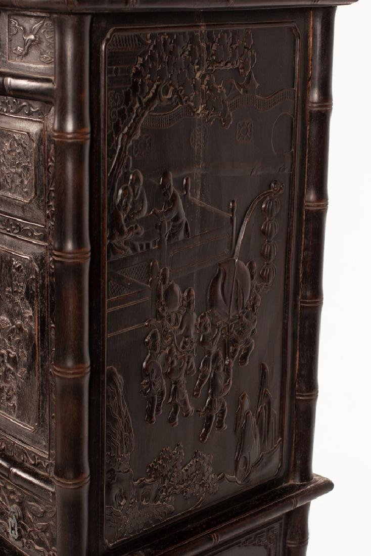 PAIR OF CHINESE CARVED HARDWOOD CABINETS - 9