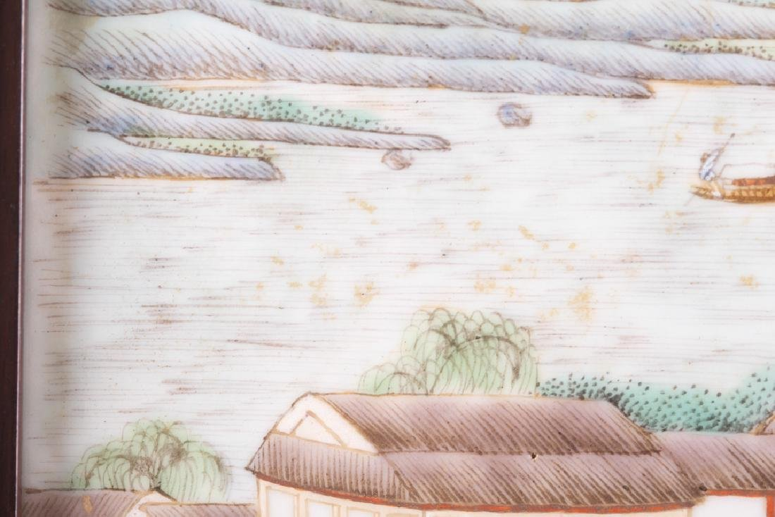 CHINESE PORCELAIN LANDSCAPE PLAQUE OF A HARBOR - 6