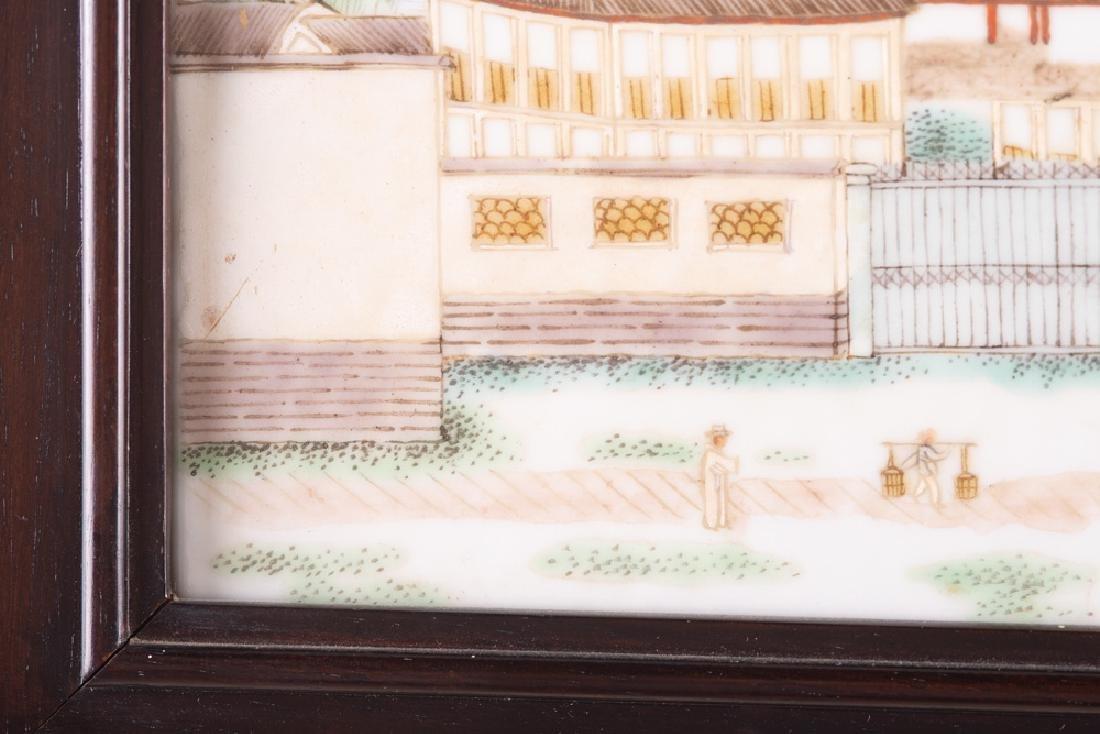 CHINESE PORCELAIN LANDSCAPE PLAQUE OF A HARBOR - 7