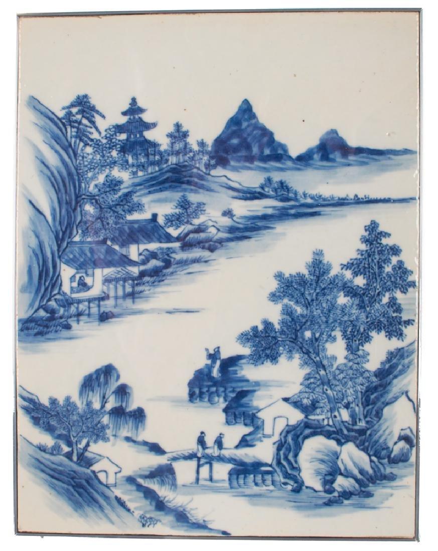 CHINESE BLUE & WHITE PORCELAIN TILE