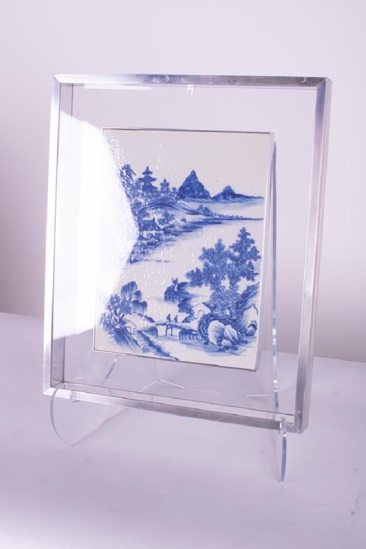 CHINESE BLUE & WHITE PORCELAIN TILE - 7