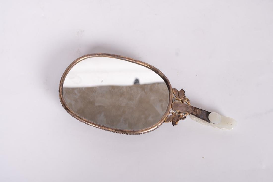 CHINESE SILVER & JADE-BUCKLE HAND MIRROR - 3