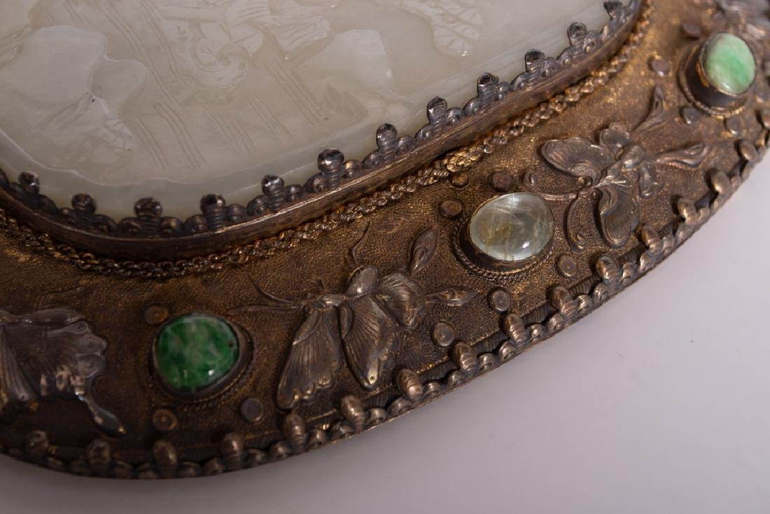 CHINESE SILVER & JADE-BUCKLE HAND MIRROR - 4