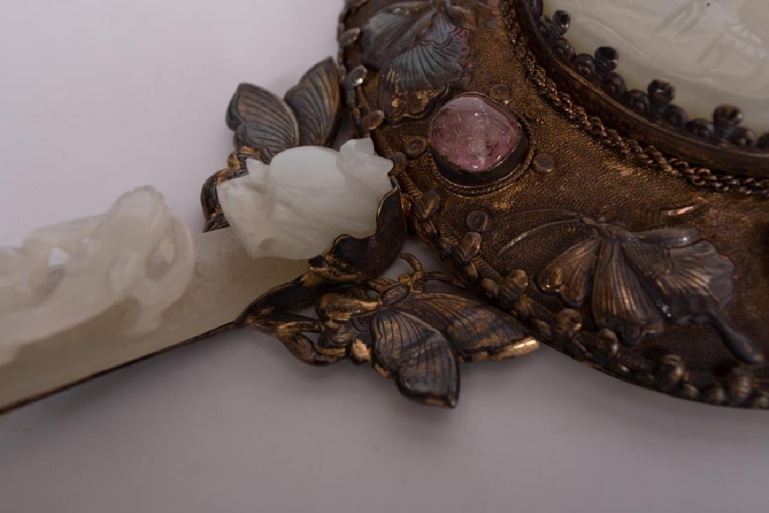CHINESE SILVER & JADE-BUCKLE HAND MIRROR - 5