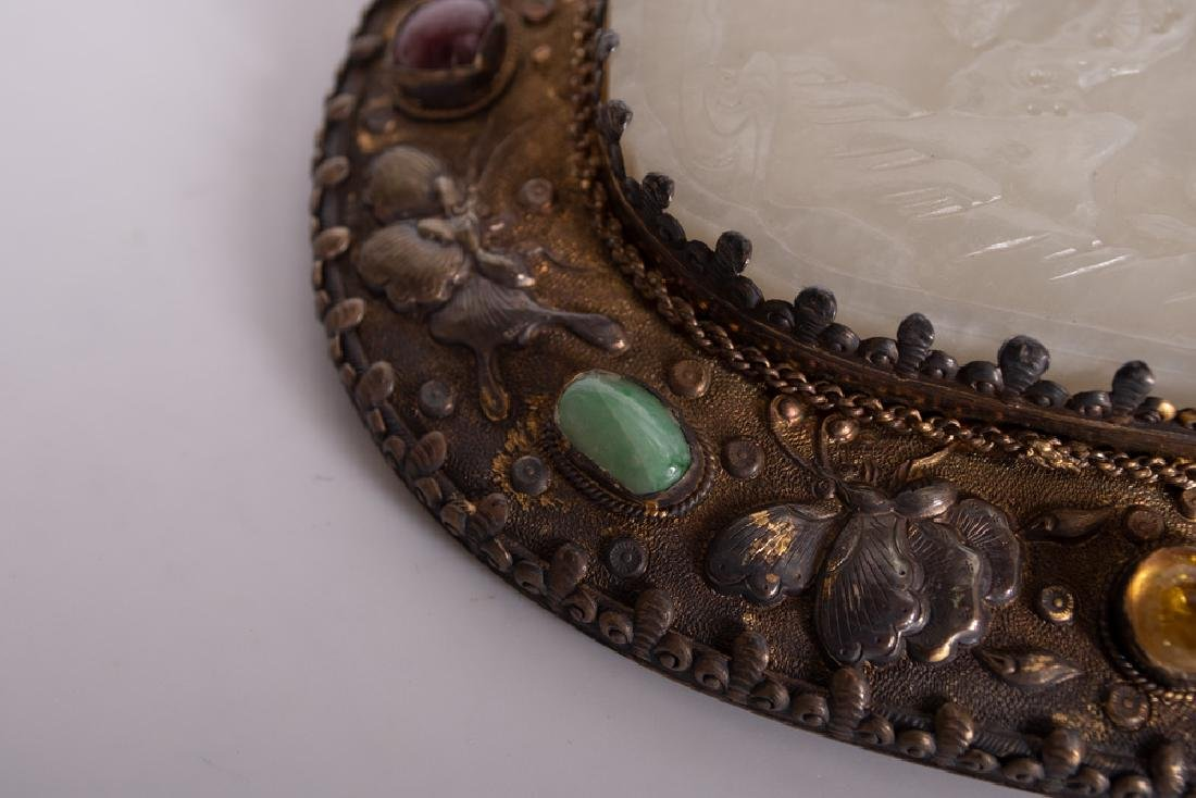 CHINESE SILVER & JADE-BUCKLE HAND MIRROR - 7