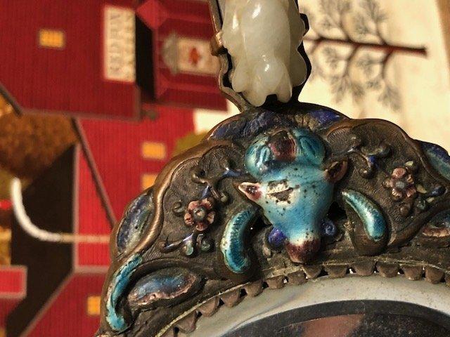 CHINESE JADE & ENAMEL HAND MIRROR - 9