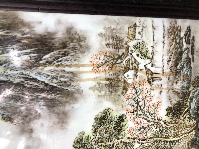 CHINESE PAINTED PORCELAIN & CARVED HARDWOOD FOUR-PANEL - 10