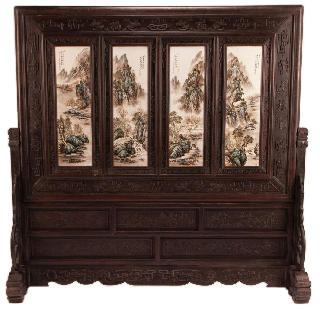 CHINESE PAINTED PORCELAIN & CARVED HARDWOOD FOUR-PANEL
