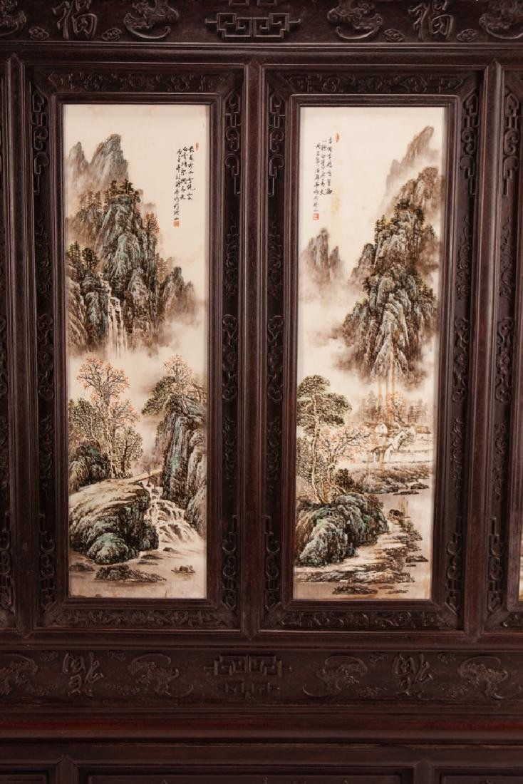 CHINESE PAINTED PORCELAIN & CARVED HARDWOOD FOUR-PANEL - 2