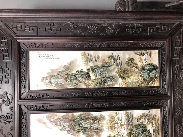 CHINESE PAINTED PORCELAIN & CARVED HARDWOOD FOUR-PANEL - 5