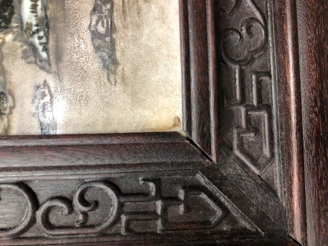 CHINESE PAINTED PORCELAIN & CARVED HARDWOOD FOUR-PANEL - 8