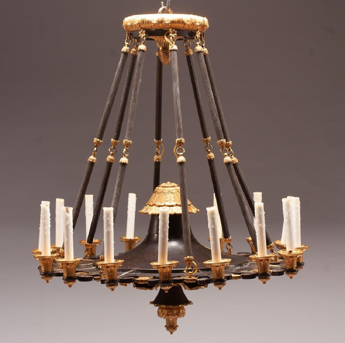 EMPIRE STYLE BRONZE & GILT BRONZE SIXTEEN-LIGHT