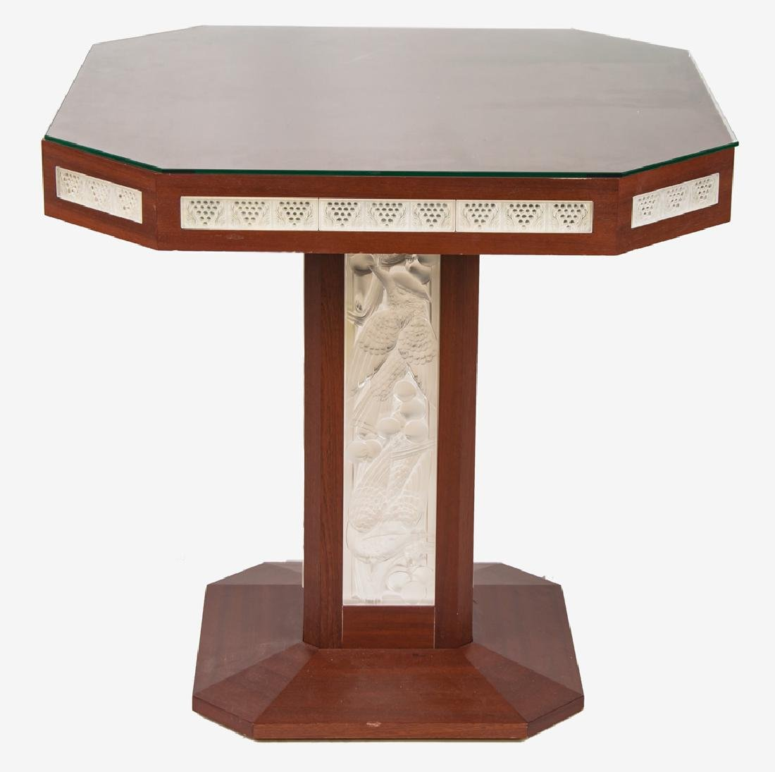 LALIQUE GLASS PANEL INSET GAME TABLE