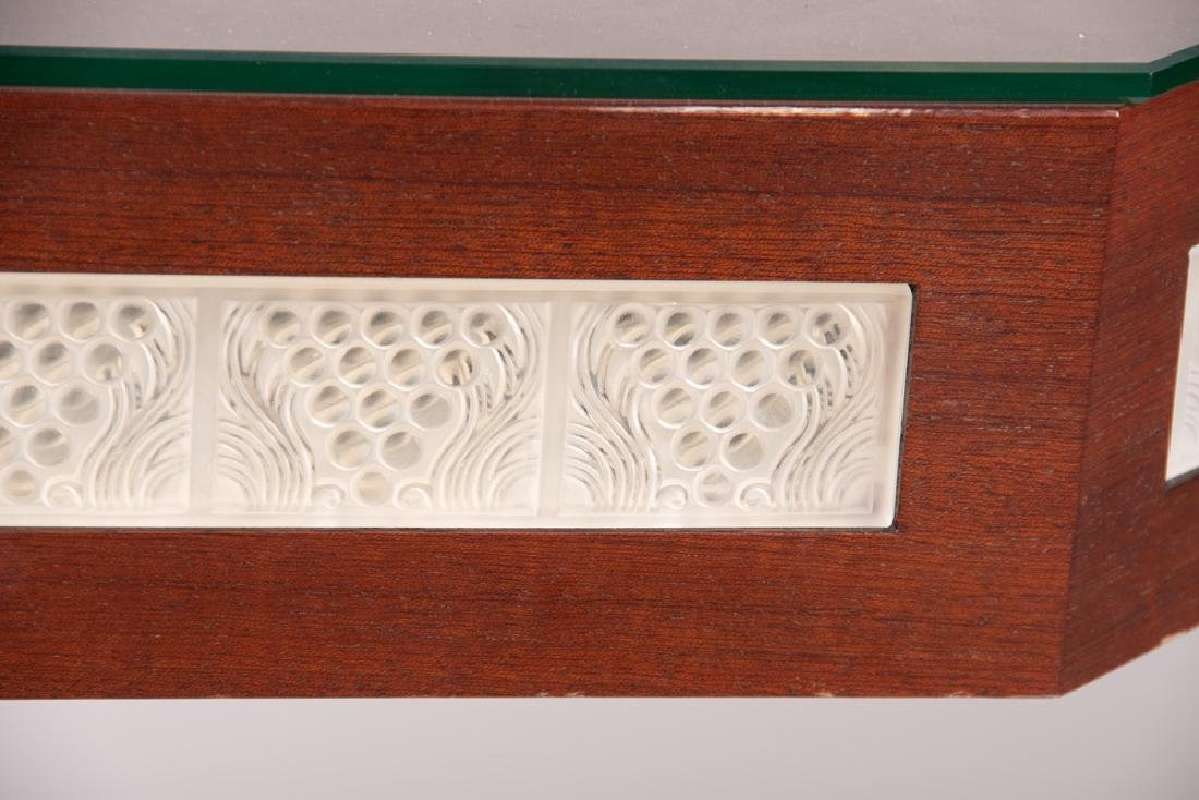 LALIQUE GLASS PANEL INSET GAME TABLE - 5