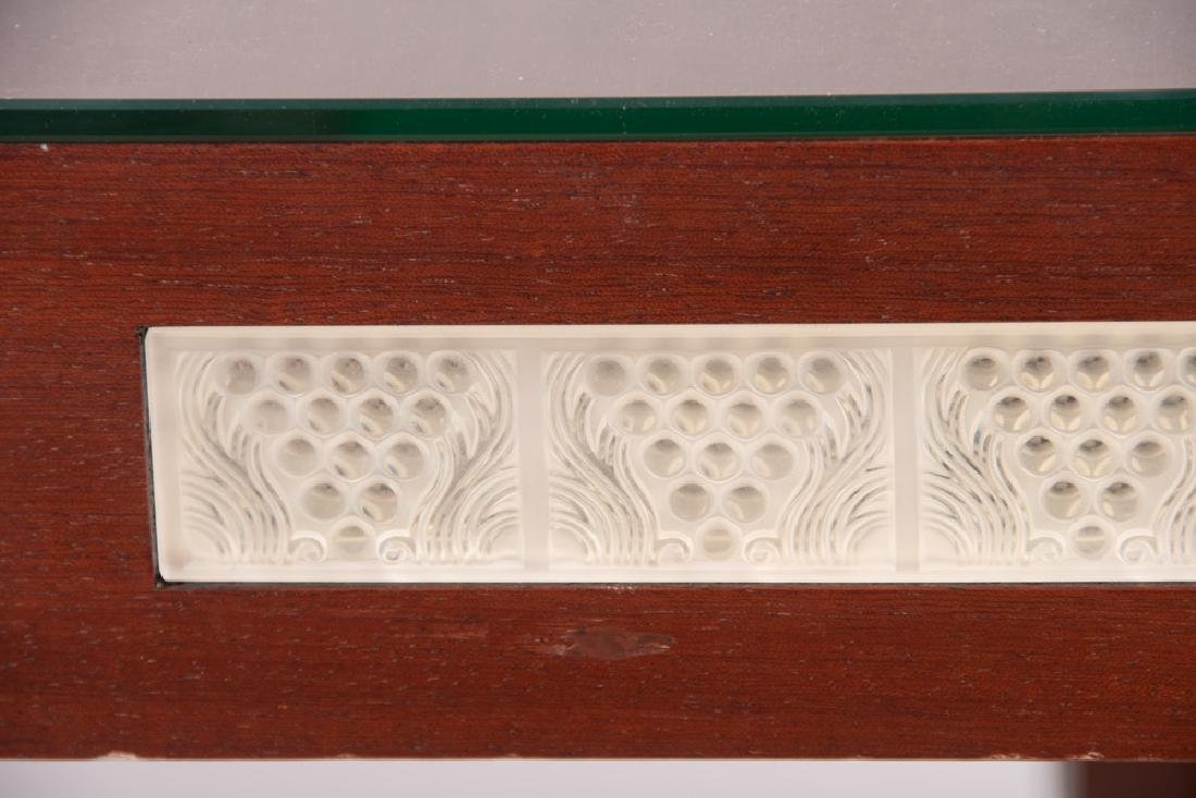 LALIQUE GLASS PANEL INSET GAME TABLE - 6