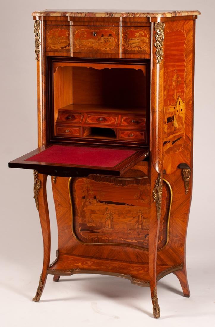 LOUIS XV STYLE MARQUETRY & MARBLE TOP SECRETAIRE