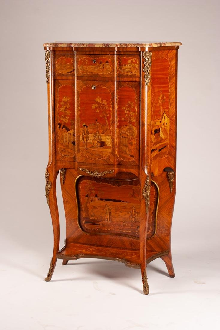 LOUIS XV STYLE MARQUETRY & MARBLE TOP SECRETAIRE - 3