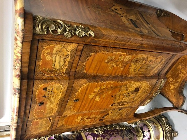 LOUIS XV STYLE MARQUETRY & MARBLE TOP SECRETAIRE - 4