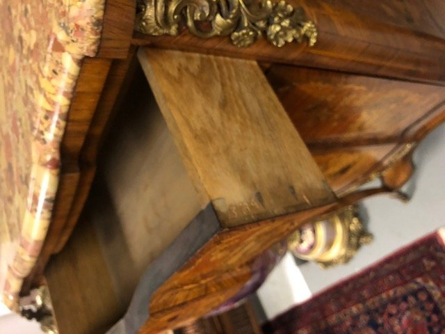 LOUIS XV STYLE MARQUETRY & MARBLE TOP SECRETAIRE - 6