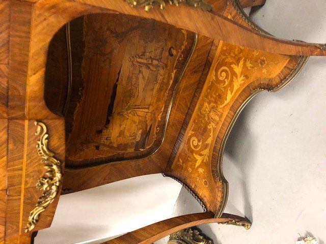 LOUIS XV STYLE MARQUETRY & MARBLE TOP SECRETAIRE - 7