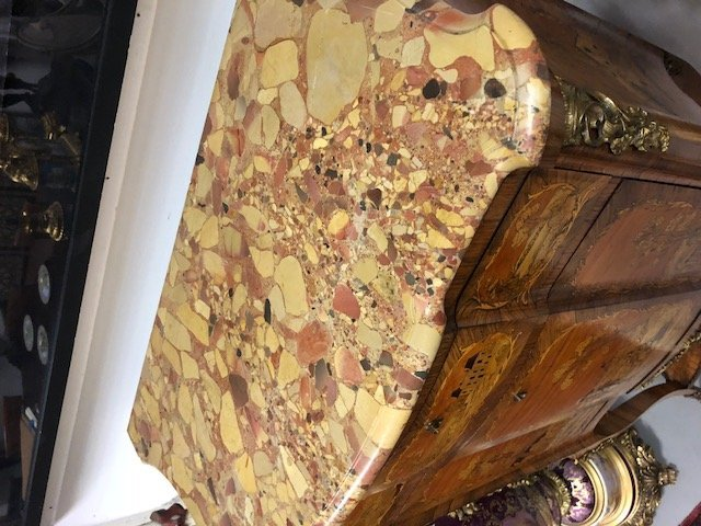 LOUIS XV STYLE MARQUETRY & MARBLE TOP SECRETAIRE - 8