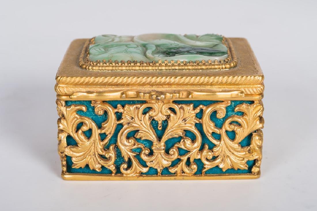 .800 GILT SILVER & JADE BOX