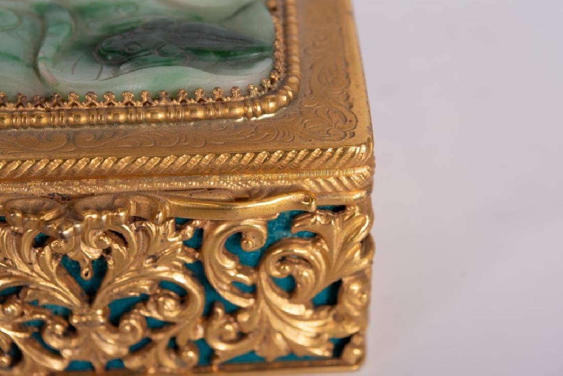 .800 GILT SILVER & JADE BOX - 2