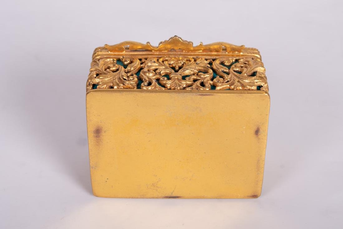 .800 GILT SILVER & JADE BOX - 4