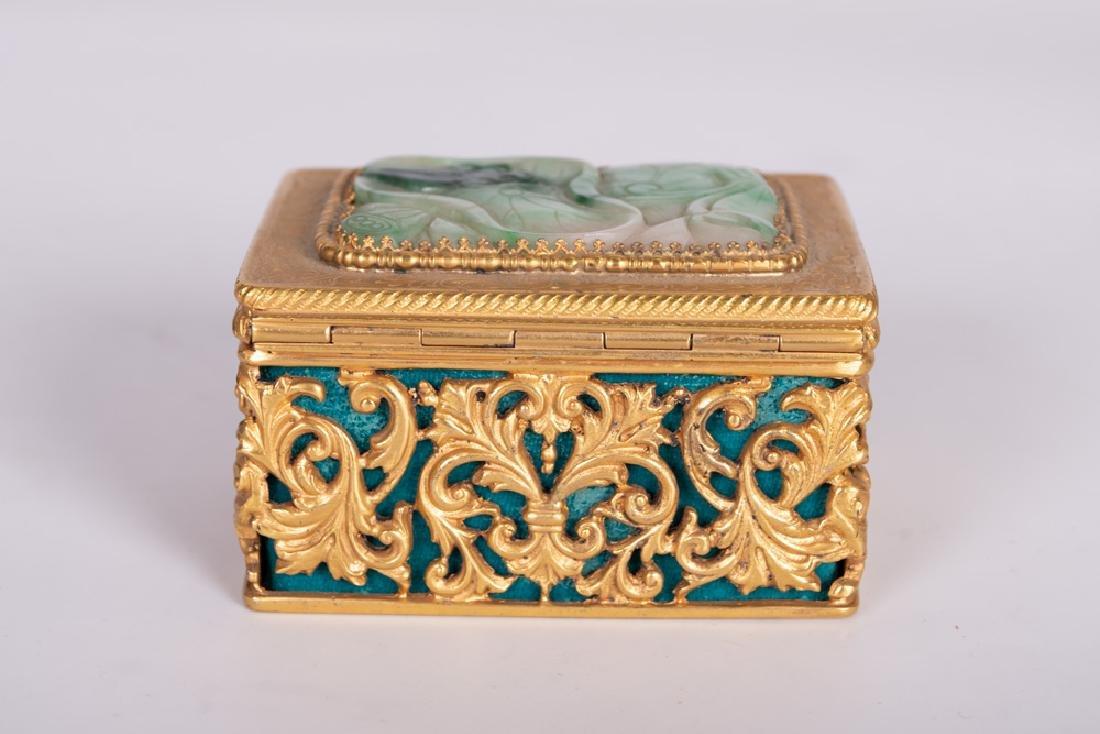 .800 GILT SILVER & JADE BOX - 7