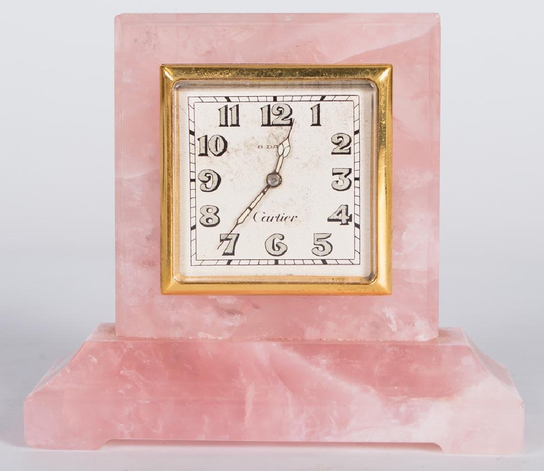 CARTIER ROSE QUARTZ DESK CLOCK