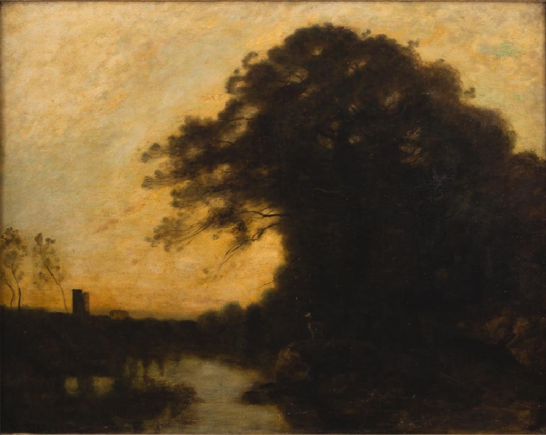 """ATTRIBUTED TO JEAN-BAPTISTE-CAMILLE COROT: """"SUNSET"""