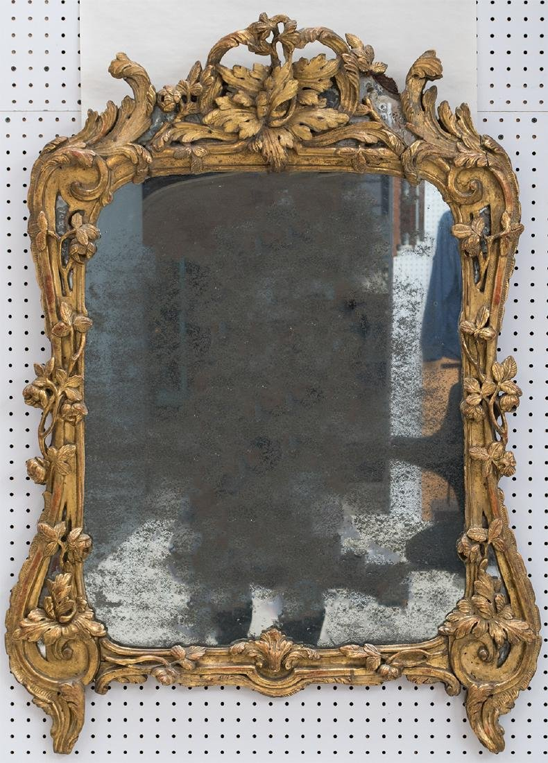 LOUIS XV CARVED GILT & GOLD LEAF MIRROR