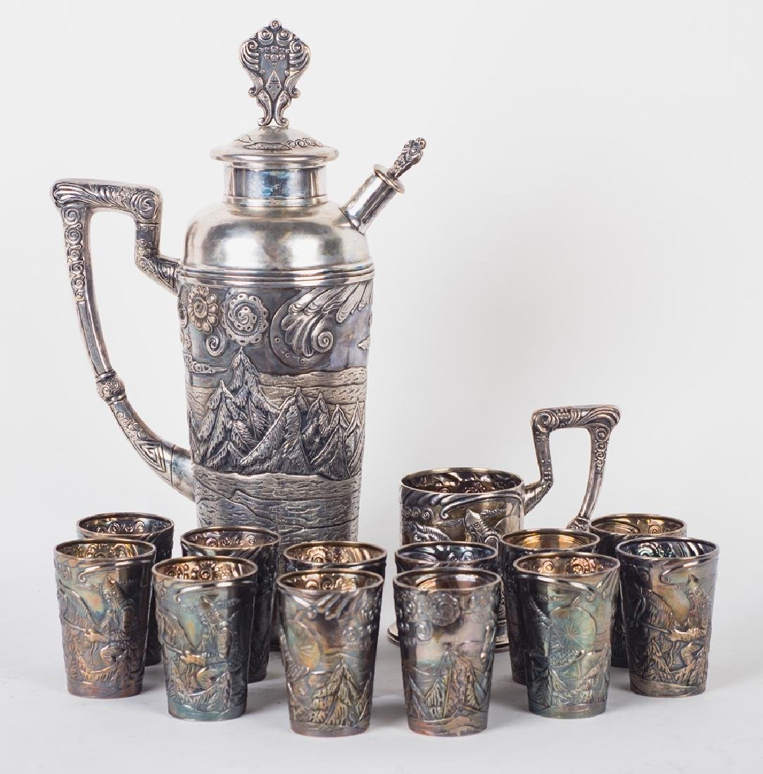 RUSSIAN FOURTEEN-PIECE SILVER DRINK SET